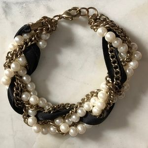 Faux Pearl Chain Ribbon Twist Bracelet *L2S*